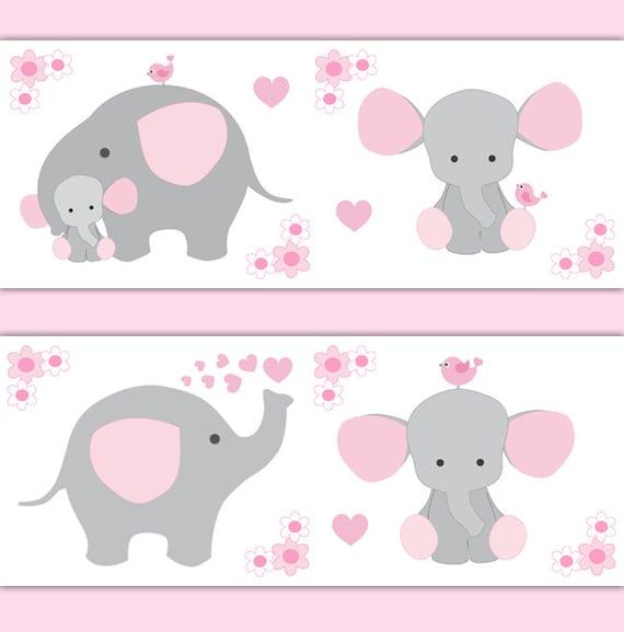 PINK GREY ELEPHANT Nursery Baby Girl Wallpaper Border Wall