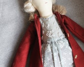SALE! Cressida Ragdoll: Handmade from Vintage and Recycled Materials, Cloth Doll, Ragdoll, Coat, Handmade Cloth Doll