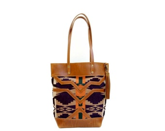 The Buena Vista Social Bag - leather and navy wool tote with pendleton oregon wool