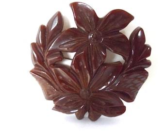 Hugh Circular Chocolate Brown Carved Bakelite Flower and Bow Brooch Pin Vintage Bakelite Jewelry Flower Jewelry Retro Jewelry