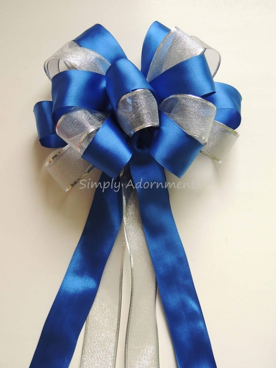 Royal Blue Silver Party Royal Blue Silver Wedding Aisle Church Pew Bow Royal Blue Silver Birthday Party Decoration Bow Gift Bows