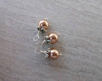 Swarovski Pearl dangles, 6mm round Rose Gold crystal pearl charms silver bead cap and wire wrap earring dangle bridesmaid charm 3pc SWPD106