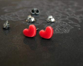 Red Heart Post Earrings Tiny Ceramic Studs Heart Pottery Modern Love Earrings Surgical Steel Post