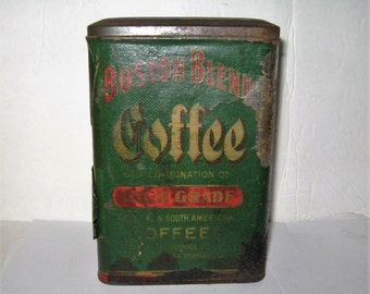 Boston Blend Coffee Tin - Vintage Boston Blend One Pound Coffee Tin - Boston Blend 1 Pound Vintage Coffee Tin