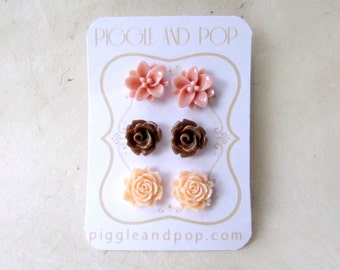 Flower Stud Earrings, Flower Earring Set, Dusty Pink Lotus Earrings, Brown Rose Earrings, Peach Rose Earrings, Floral Resin Post Earrings