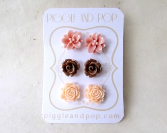 Flower Stud Earrings Set. Dusty Pink Lotus Earrings. Dark Brown Rose Earrings, Peach Open Rose Earrings. Small Resin Cabochon Earrings.