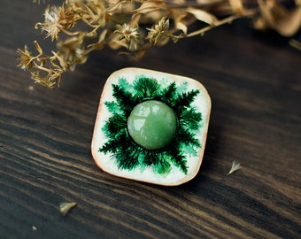 Deep in Forest wooden gemstone Brooch, indie mystical hand painted brooch, woodland boho fashion jewelry, white and green nephrite
