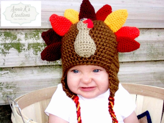 e2f78de50ea This is an adorable little turkey earflap hat is suitable for either boys  or girls. Hand crocheted from super soft Redheart yarn