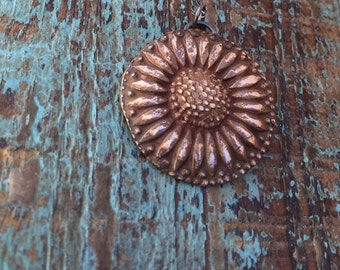 Sunflower bronze necklace / leaf imprint / handmade bohemian necklace