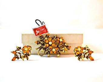 1950s Vintage Coro Demi Parure Orange Rhinestone Brooch and Earring Set - signed