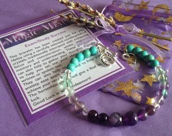 Academic Success, Exam or Test Help, and School  Study Bracelet with Gemstones