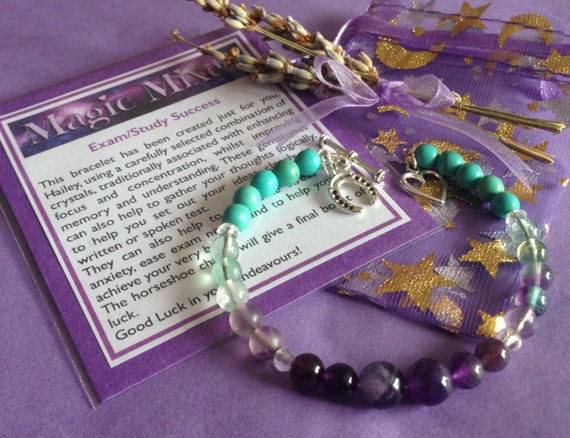 Academic Success, Exam or Test Help, and School  Study Bracelet with Gemstones