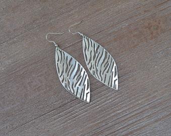 Large Silver Filigree Earrings - Silver Leaf Earrings - Zebra Earrings - Silver Statement Earrings - Dangle Earrings - Lightweight Earrings