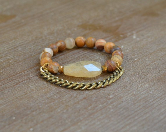 Wood Bead Stone Bracelet - Chunky Beaded Stretch Bracelet - Quartz Bracelet - Statement Bracelet - Stackable Beaded Bracelet Arm Candy