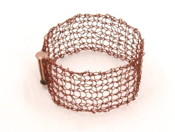 Copper Bracelet - Brown Lace Bracelet - Copper Cuff Bracelet - Wire Knit Jewelry - Brown Cuff - Mesh Bracelet - Gift for Mom - Knit Copper