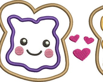 Peanut Butter and Jelly Applique Embroidery Design - Instant Download