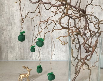 Hanging Decoration, Felt Decor, Green Apples, Home Ornaments, Set of 5 Felted Wool Balls, Home Decoration, Kids Room Decor, Apple