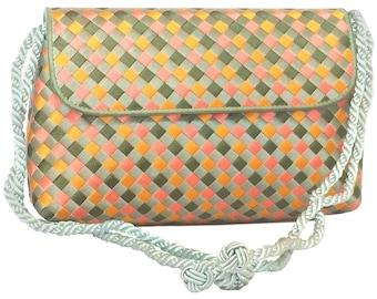 Vintage Bottega Veneta woven satin, classic intrecciato handbag purse in pink, orange, light blue, and green color. Can be clutch pouch.