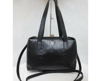 Vintage Fendi black leather shoulder bag, handbag with kiss-lock closure geometric embossed design.  Rhomboid