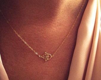 14k Gold Horizontal Hamsa / Hand of Fatima Necklace - Custom Sizes Available