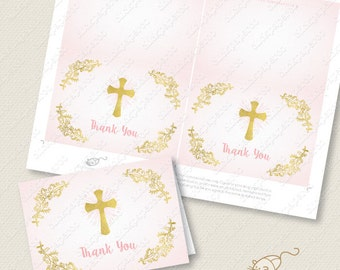 Pink Baptism Thank You Card printable Holy Cross instant download gold effect folded pdf thanks communion confirmation glitter foil cards