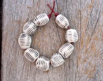 Rust And White Pebble Beads,  Handmade Ceramic Beads,  Artisan Bead Set,  Jewelry Supplies
