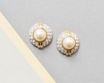 Vintage pearl earrings, rhinestones earrings, 90s earrings, 90s statement jewelry, costume gold jewelry