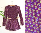 AMAZING 1960s Tribal Print Playsuit, Long Sleeve Romper with Hemp Belt, Rouched Upper, Mid Century, Shorts, Young Edwardian by Arpeja