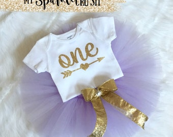 Gold First Birthday Bodysuit & Lavener Tutu, Gold Glitter One, Sparkle Outfit, 1st Birthday Outfit, Sparkle Birthday, Princess Birthday