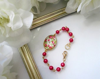 Gold Pink Beaded Floral Bracelet - Shabby Chic Pink Pearl Bracelet - Molly