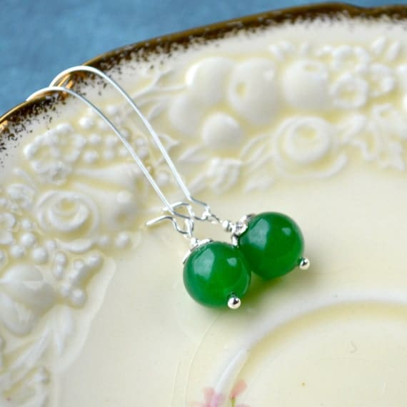 Green Glass Earrings, Green Dangle Earrings, Green Drop Earrings, Kelly Green Jewelry, Long Bead Earrings, Emerald Green Earrings, UK shop