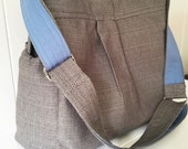 Grey linen look bag with Baby Blue Lining and Changing Pad