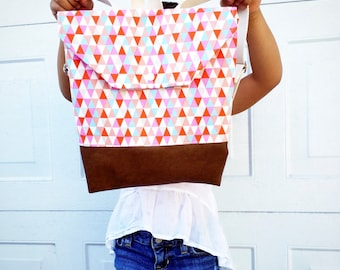 Toddler Backpack Pink  Shades Triangles