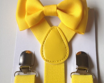 Yellow Suspenders Bowtie set Burlap Baby bow tie Yellow Suspenders Jute Boys Bowties Tan Toddler Necktie Gray bowtie Wedding Ring Bearer