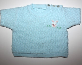 VINTAGE EASTER BABY Outfit - Knit Pale Blue - Two Piece - Shirt and Bloomers - Bunny Rabbit