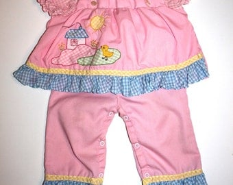 RETRO 70's BABY GIRL Outfit - Pink, Gingham, Ducks - 2 Pieces