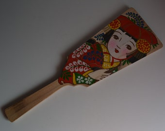 Hagoita, vintage Japanese New Year's wooden paddle #4