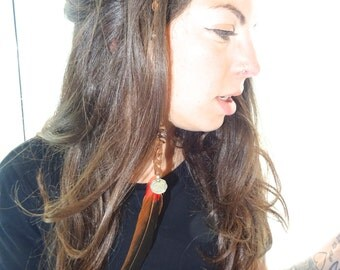 Feather hair extension clip made with antique coin ,suede , mother of pearl  & wood beads