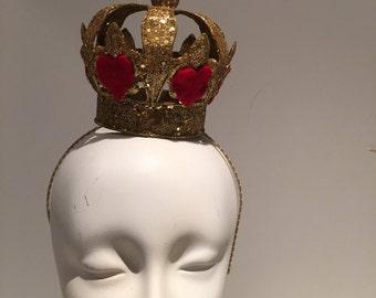 Queen Crown- Gold Crown- Birthday Hat -Queen of Hearts- Crown jewels- Queen Costume -Gold Crown- Tiara -Princess -King of Hearts-