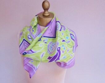 Vintage 1950s silk scarf, lilac and lime, folk art design, silk headscarf, mid century accessory, 50s scarf