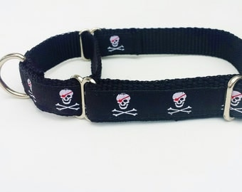 """3/4"""" Martingale with Skulls, Pirates, Black, Red and White"""