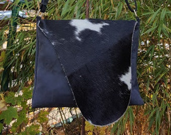 "KUHIE®, cow fur bag ""Tessa"" from black leather and black and white cow hide, nubuck leather, CowHide, bag, CowhideBag,."