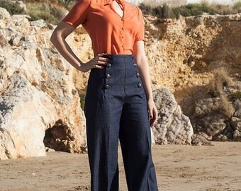 SAILOR DENIM PANTS, high waist, 1940's style swing pants