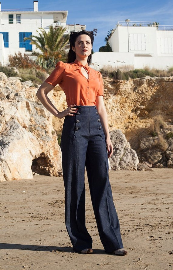 Vintage Overalls 1910s -1950s Pictures and History SAILOR DENIM PANTS high waist 1940s style swing pants $113.29 AT vintagedancer.com