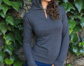 Elven Hoodie-Hoodies for women-cute hoodies-hippie hoodies-thumbhole hoody-hoop clothes-festival hoodie-festival top-v-neck top-gray tops