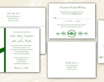 Personalized Irish Claddagh Wedding Invitations. Optional RSVP, Insert & Return Address Printing. White or Ivory Linen Card Stock.