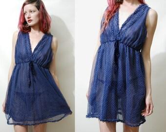 70s Vintage BABYDOLL Dress Lingerie NAVY Blue Polkadot Slip Negligee Nightie Sheer Layered Nylon Mini Boho Bohemian Hippie 1970s vtg S M L