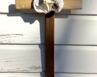 Seashell Cross Wooden Wall Cross/Beach Wedding Cross/Seashell Home Decor