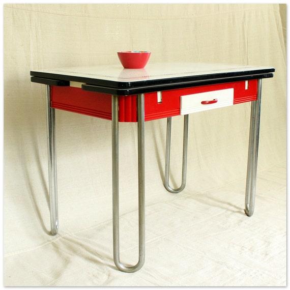 Vintage Enamel Top Kitchen Table: Vintage 1940s Kitchen Table Porcelain Enamel Draw Leaf