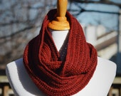 Crochet Textured Infinity Scarf - Burgundy Red